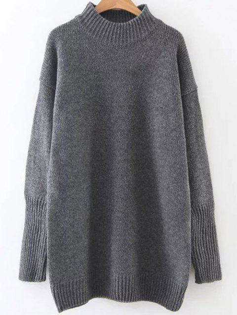 High Neck Long Loose Sweater - DEEP GRAY ONE SIZE