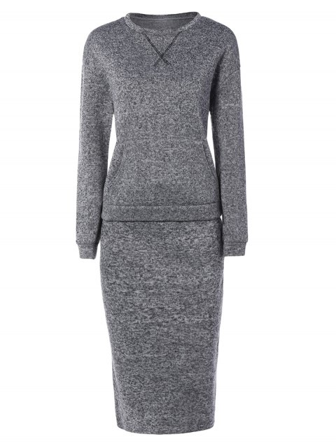 Space Dyed Sweater and Kintting Slit Pencil Skirt - DEEP GRAY S