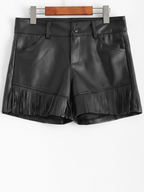 Plus Size Fringed Faux Leather Shorts - BLACK 3XL