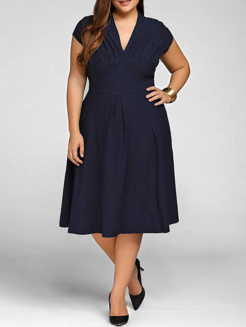 V Neck Plus Size A Line Party Dress - PURPLISH BLUE XL