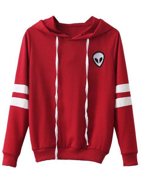 Striped Alien Embroidered Hoodie - RED S