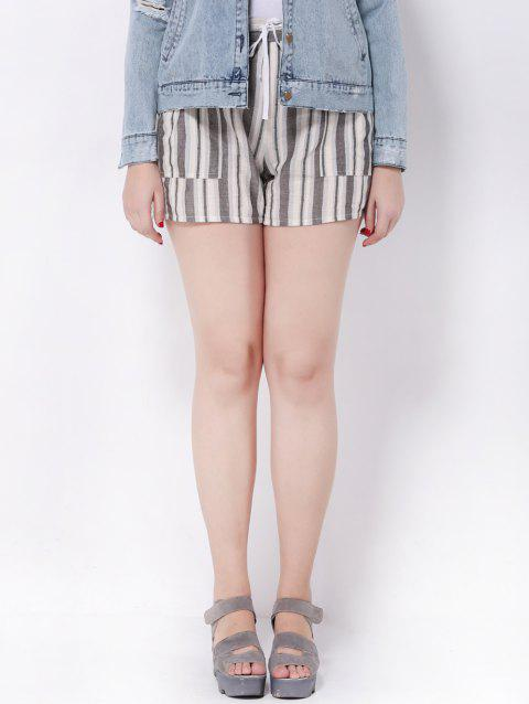 Plus Size Striped Mid-Waist Shorts - STRIPE 2XL