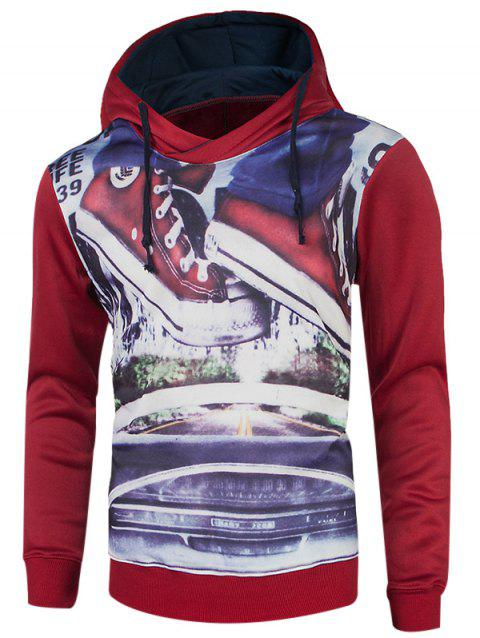 Drawstring Sleeve Hoodie long Graphic - Rouge M