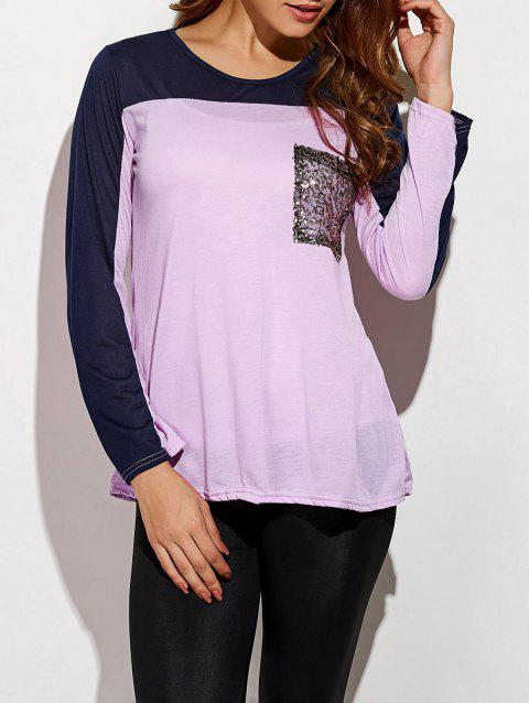 Sequin Long Sleeve Color Block T-Shirt - LIGHT PURPLE S