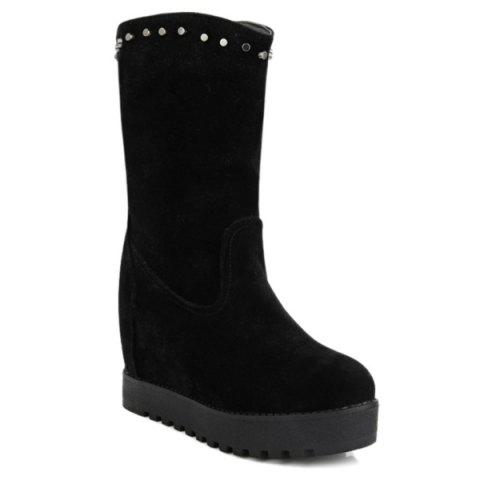 Platform Hidden Wedge Mid Calf Boots - BLACK 37