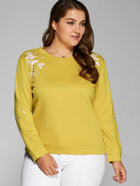 8e771dbd5fe76 Plus Size Flower Embroidered Sweatshirt - BLUISH YELLOW 3XL. Click to Zoom