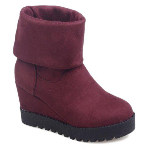 Platform Suede Wedge Heel Mid Calf Boots - WINE RED 39