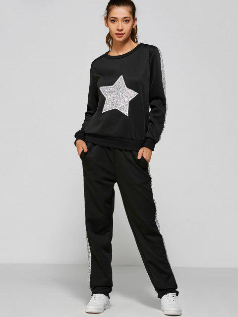 Slivery Star Sequin Sweatshirt and Pannel Pants - BLACK L