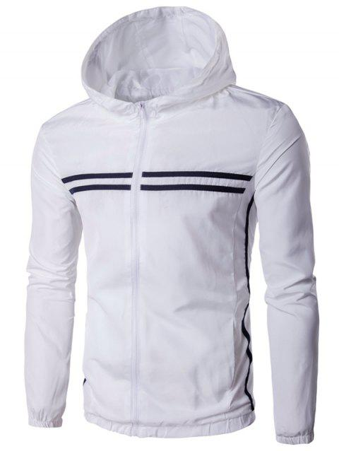 729672a8166 2019 Striped Design Hooded Zip-Up Plus Size Jacket In WHITE XL ...