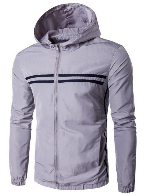 1d548e77d1f 2019 Striped Design Hooded Zip-Up Plus Size Jacket In GRAY M ...