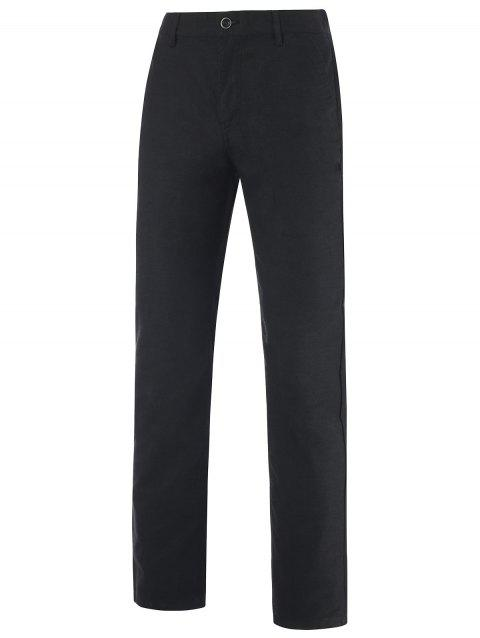 Zipper Fly Patch Pocket Back Mid-Rise Pants - BLACK 37