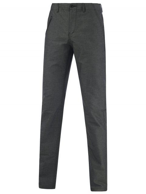 Narrow Feet Hip Pocket Zippered Texture Pants - GRAY 37