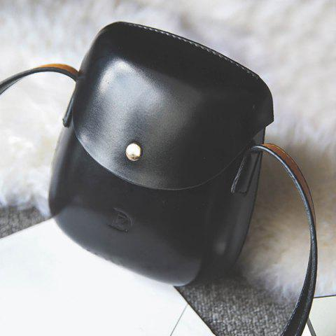 Metallic PU Leather Covered Closure Crossbody Bag - BLACK