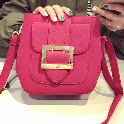 Magnetic Closure PU Leather Buckle Crossbody Bag - ROSE MADDER