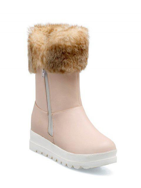 Zipper Increased Internal Faux Fur Snow Boots - PINK 38