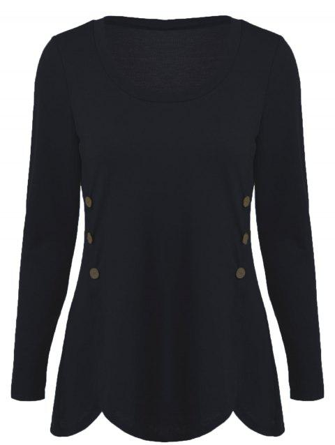 Double-Breasted Asymmetrical T-Shirt - BLACK M