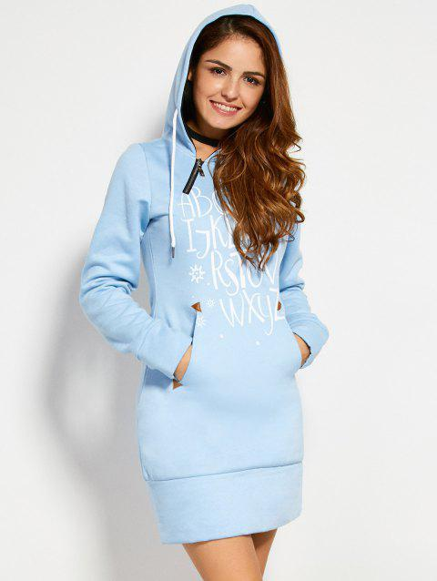 Zipper Letter Print Hooded Sweatshirt Dress - AZURE S