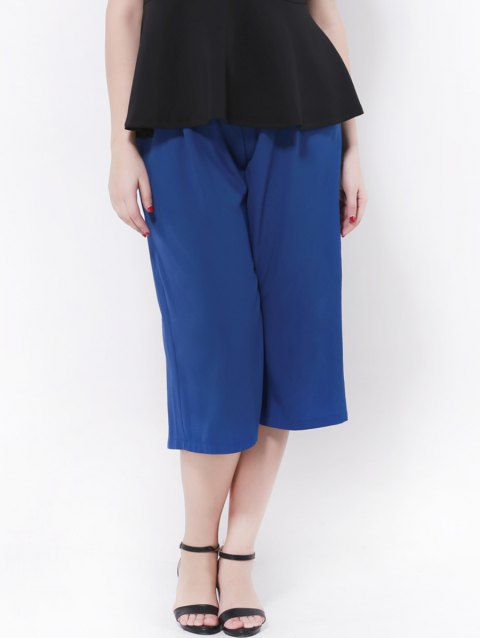 High Waist Wide-Leg Chiffon Pants - BLUE 3XL