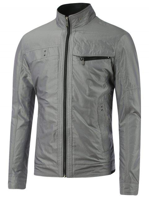 Stand Collar Small Grid Zipper Embellished Jacket - GRAY M