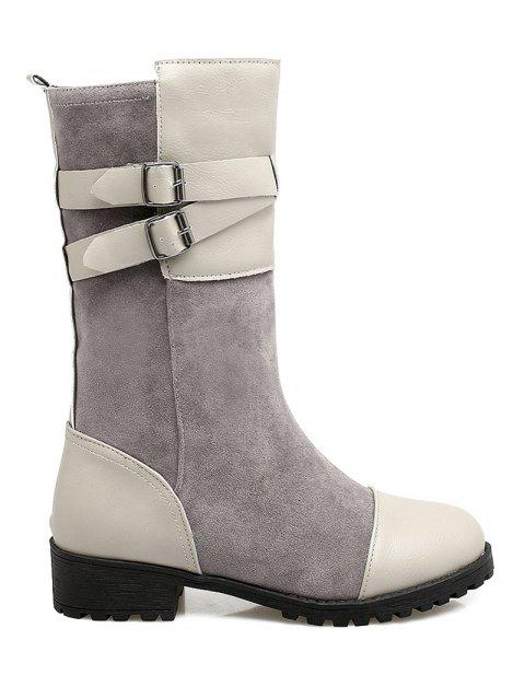 Double Buckle Splicing Mid-Calf Boots - LIGHT GRAY 39