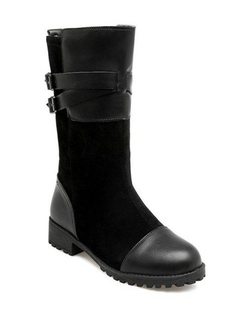 Double Buckle Splicing Mid-Calf Boots - BLACK 38