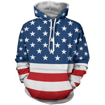 Buy Front Pocket Embellished Stars Stripes Pattern Hoodie COLORMIX