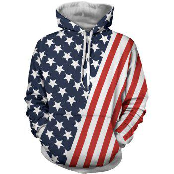 Long Sleeve Stars and Stripes Print Hoodie