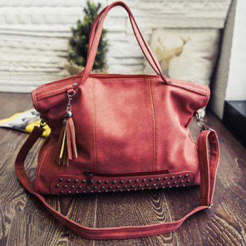 PU Leather Rivet Tassel Tote Handbag