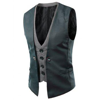 Single Breasted Color Block Faux Twinset V-Neck Sleeveless Men's Waistcoat - BLACKISH GREEN M