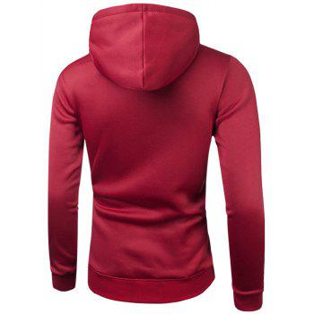 Drawstring Long Sleeve Graphic Hoodie - RED M