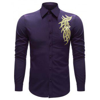 Turn-down Collar Button Up Embroidered Shirt