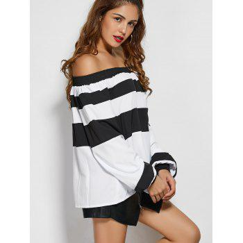 Wide Stripe Off The Shoulder Top - WHITE/BLACK XS