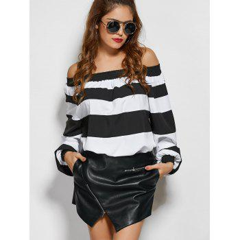 Wide Stripe Off The Shoulder Top - WHITE AND BLACK S