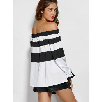 Wide Stripe Off The Shoulder Top - WHITE/BLACK XL