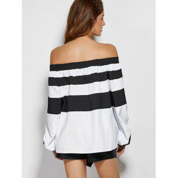 Wide Stripe Off The Shoulder Top - WHITE/BLACK 2XL