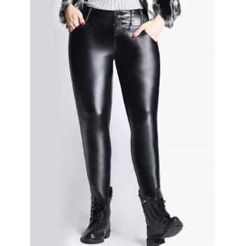 High Waist Thicken Skinny PU Pants