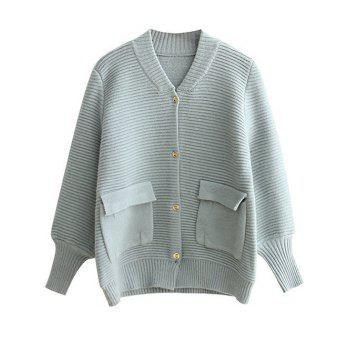 Lantern Sleeve Buttoned Pockets Cardigan