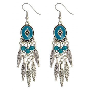Bohemian Leaf Beads Fringe Chandelier Earrings