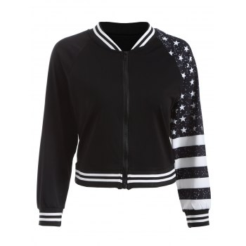Stars Stripe Print Short Jacket