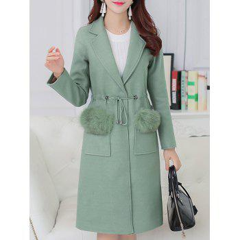 Lapel Faux Fur Decorated Coat