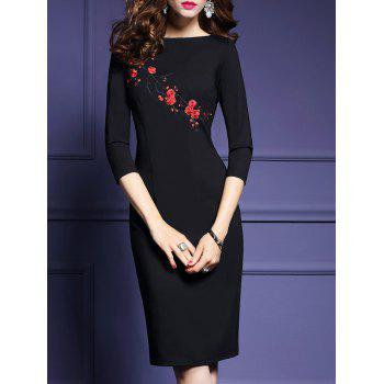 Plum Blossom Embroidery Midi Dress