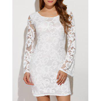 Criss-Cross Short Lace Bodycon Dress With Flare Sleeve