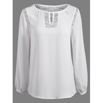 Long Sleeve Lace Spliced Keyhole Blouse