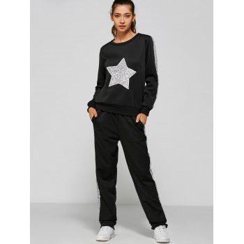 Slivery Star Sequin Sweatshirt and Panel Pants