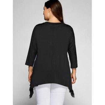 Plus Size Color Splicing Tassel Asymmetric Top - WHITE/BLACK 4XL