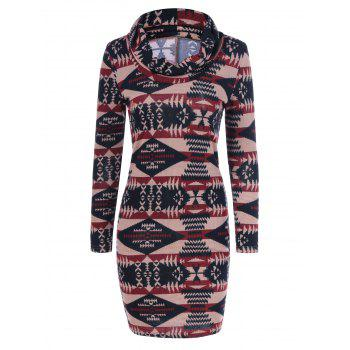 Tribal Pattern Cowel Neck Dress