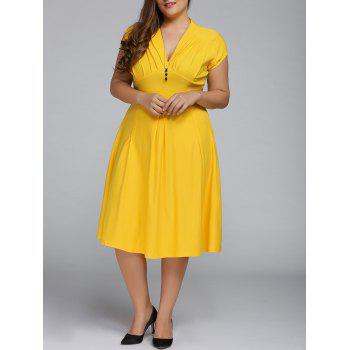 Plus Size Cape Sleeve Deep V Neck Flare Dress