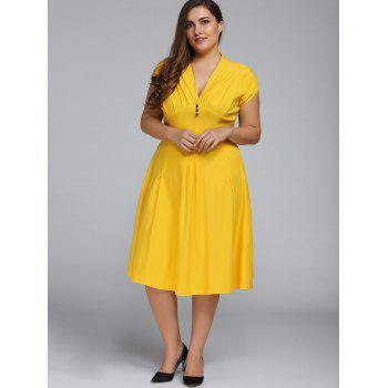 v neck plus size a line party dress, yellow, xl in plus size