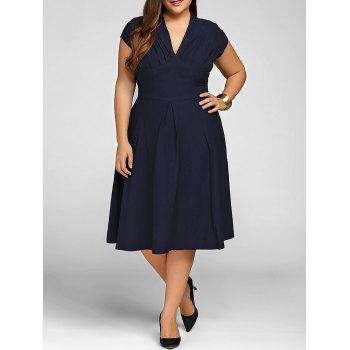 Plus Size Cape Sleeve Deep Party Skater Dress