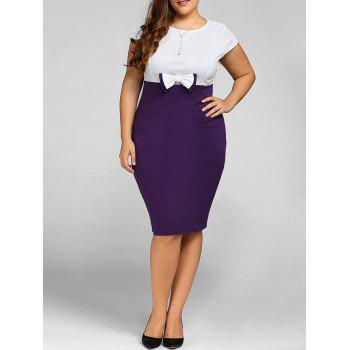 Plus Size Cape Sleeve Bow Sheath Dress